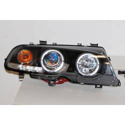 Set Of Headlamps Angel Eyes BMW E46 1999-2002, 2 Doors, Model II, Black