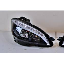 Set Of Headlamps Day Light Mercedes W204 2007-2010 Black Flashing Led