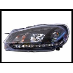 Faros Delanteros Luz De Dia Real Volkswagen Golf 6 09-12 Black