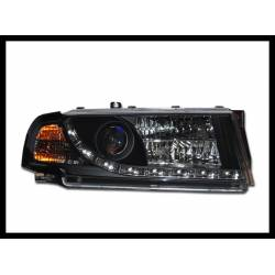 Set Of Headlamps Day Light Skoda Octavia 2001 Black With Fog Lamps