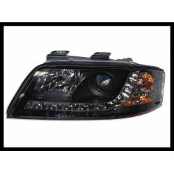 Faros Delanteros Luz De Dia Audi A6 '99-00 Black
