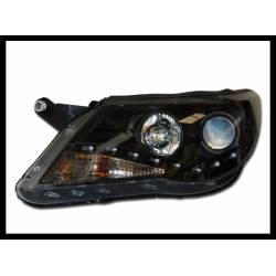 Set Of Headlamps Day Light Volkswagen Tiguan 2007 Black