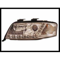 Set Of Headlamps Day Light Audi A6 2001-2003, Chromed