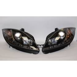Set Of Headlamps Day Light Seat Leon 2009-2012 Black
