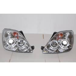 Set Of Headlamps Angel Eyes Ford Fiesta 2002-2008, Chromed
