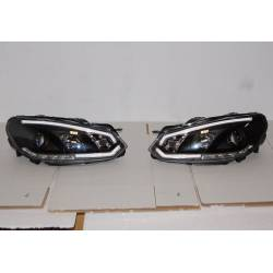Set Of Headlamps Day Light Volkswagen Golf 6 2009-2012 Black