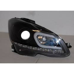 Set Of Headlamps Day Light Mercedes W204 2011-2013 Black Flashing Led