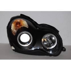Set Of Headlamps Angel Eyes Mercedes W203 2001-2007 Black