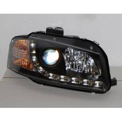 Set Of Headlamps Day Light Audi A3 2003-2008 Black, Model II